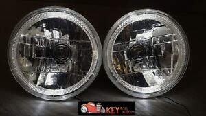 7 Round Headlights Pair White Led Halo Ring Glow H4 Bulbs Jeep Street Rod Car