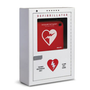 Philips Aed Defibrillator Cabinet W Battery Powered Alarm System Surface Mount
