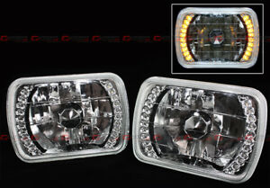 7 X 6 Clear Glass Lens Chrome Sealed Beam Amber Yellow Led Headlights For Jeep