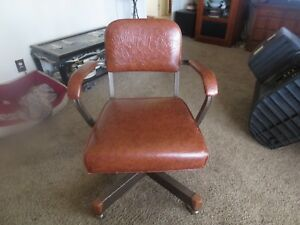 Early Deco William T Wallace Furniture Leather Tilting Adjustable Office Chair