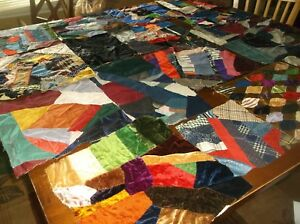 Vtg Crazy Quilt Blocks Hand Stitched Velvet Silks And Other