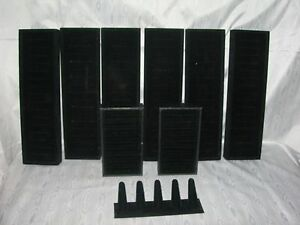 Mixed Set Of 9 black Velvet Jewelry Trays Organizer ring Tree Display Holder