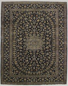 Fanciful Vintage Signed Navy Persian Rug Oriental Area Carpet Sale 10x13