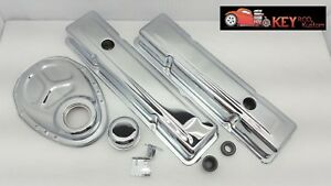Small Block Chevy Chrome Engine Dress Up Kit Short Valve Covers 283 327 350 400