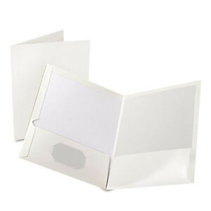 white Twin Pocket Folders With Business Card Slots 8 5 X11 200 Folders