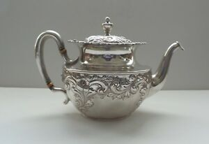 19th C Sterling Silver Teapot Embossed Decoration 490 Grams