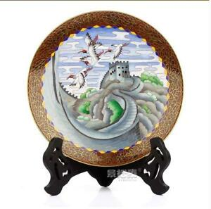 9 China Antique Handmade Cloisonne Enamel Painting The Great Wall Crane Plate