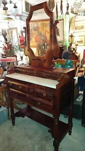 Antique Mahogany Foyer Vanity Table Dresser Entry Hall 1800 S With Mirror