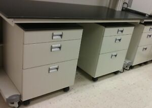 Steel Mobile Laboratory Cabinet With Black Trespa Top 24 Wide