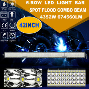 Cree 42 Inch 4352w 5 Row Led Work Light Bar Spot Flood Suv 4wd Offroad Boat Car