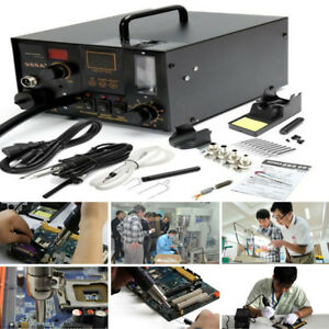 New Aoyue 968a 4 In 1 Digital Soldering Iron Hot Air Station Complete Kit Ec