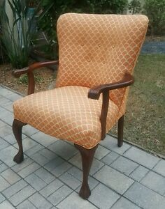 Vintage Mahogany Armchair Chippendale Claw Foot Accent Side Upholstered Antique