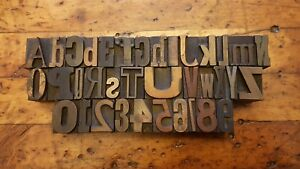 A z 0 9 Vtg Letterpress Wood Type 36 Print Blocks 1 Mixed Font Full Alphabet