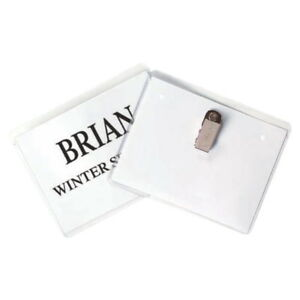 C line Clip Name Badge Holder With Inserts 4 X 3 Inches Clear Pack Of 96