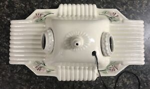 Antique 30s Vintage Art Deco Porcelain Ceiling Light Fixture Ceramic Pink Flower