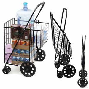 Extra Large Heavy Duty Shopping Carts Laundry Grocery Double Basket Flat Folding