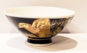 Japanese Kutani Ware Pottery Eagle Pattern Sake Cup Rice Bowl Gold