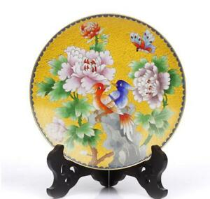 8 China Antique Handmade Cloisonne Enamel Painting Peony Bird Yellow Plate