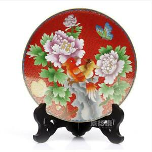 8 China Antique Handmade Cloisonne Enamel Painting Peony Bird Red Plate
