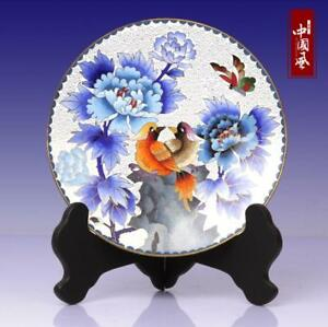 8 China Antique Handmade Cloisonne Enamel Painting Peony Flower Bird Plate