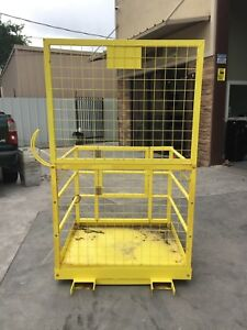Used Forklift Safety Cage Platform Lift Basket Aerial Fence Rails Yellow 2 Man