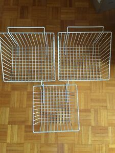 3 Hangers Deep Wire Baskets For Gridwall Slatwall And Pegboard White Used Heavy