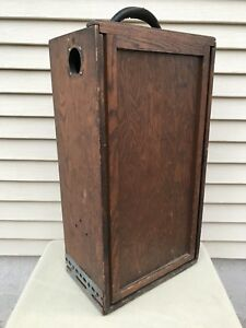 Antique Fisher Scientific Co 22 5 Wooden Box Crate Cabinet W 2 Sliding Doors