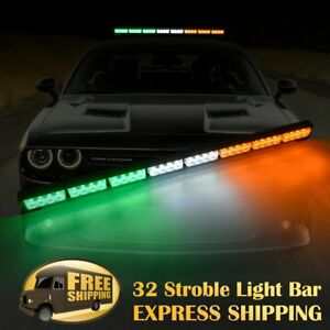 35 32 Led Emergency Hazard Warning Advisor Strobe Light Bar Amber White Green