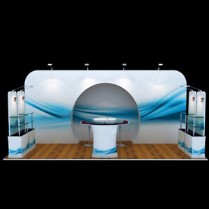 20ft Portable Trade Show Display Pop Up Stand Booth Exhibit Sets Tables Shelves