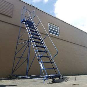 Louisville Rolling Ladder 12 step With Hand Rail Gillis Saf t 13 Ft Local Pick