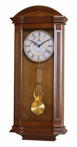 Antique Wall Clock W Pendulum Carved Wooden Decorative Elegant Home Collectible