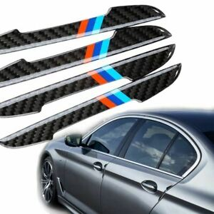 4x M Color Strips Carbon Car Side Door Edge Guard Protection Stickers For Bmw