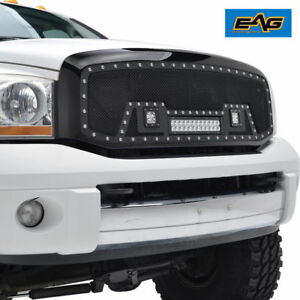 06 08 Dodge Ram 1500 07 09 2500 Grille Rivet Replacement Ss Mesh W 3 Led Lights