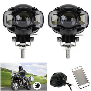 2x Motorcycle 20w Led Spot Driving Fog Drl Lamp Auxiliary Light Usb Port