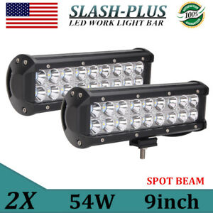 2x 9 Inch 54w Led Work Light Drl Spot Light Offroad Driving Atv Truck Fog 12v24v