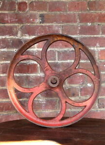 Antique 14 13 4 Industrial Cast Iron Factory Cart Wheel Lineberry Coffee Table