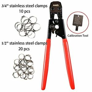Pex Cinch Crimping Tool Crimper Stainless Steel Clamps From 3 8 to 1 1 2 20pcs