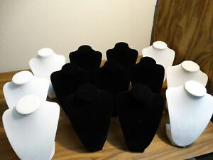 Jewelry Stand Necklace Display 3 dimensional Velvet 9 7 Black 6 White Lot Of 13