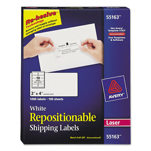 Avery Repositionable Shipping Labels Inkjet laser 2 X 4 White 1000 box 55163