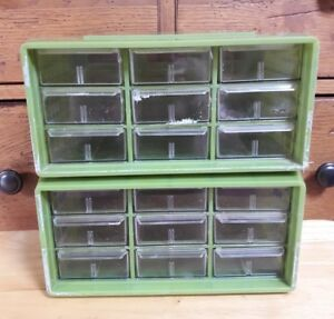 Vintage 2 Akro mills 9 Drawer Compartment Storage Plastic Green Clear Trays