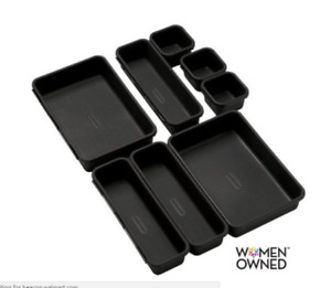 Desk Drawer Organizer Bin Set 8 piece Black Office Supplies Organizing Container