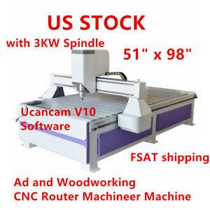 Usa 51 X 98 1325 Ad And Woodworking Cnc Router Machineer Machine 3kw Spindle
