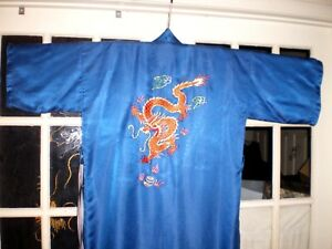 Antique Chinese Blue Silk Robe Kimono W Embroidered Gold Dragons