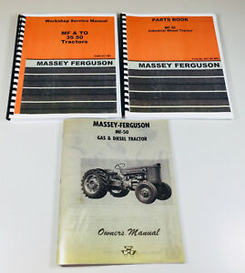 Set Massey Ferguson To 50 Tractor Service Operator Parts Manual Owners Catalog