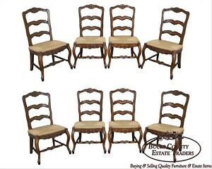 French Country Style Set Of 8 Rush Seat Ladder Back Dining Chairs