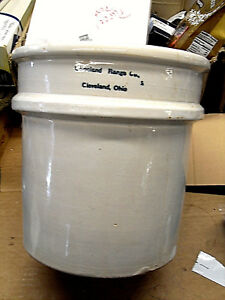 Old 2 Gal Stoneware Crock Marked Clevland Range Co Cleveland Ohio A1 Cond