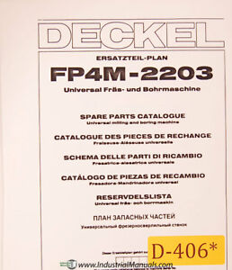 Deckel Fp4m 2203 Universal Tool Milling Boring Spare Parts Manual Year 1983