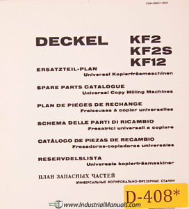 Deckel Kf2 Kf2s Kf12 Universal Copy Milling Spare Parts Manual 1970