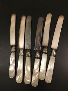 Meriden Cutlery Co 1855 12 Sterling Silver Band Mother Of Pearl Dinner Knives 6