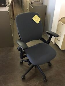 Executive Chair By Steelcase Leap V2 Model In Med Gray Color fully Loaded